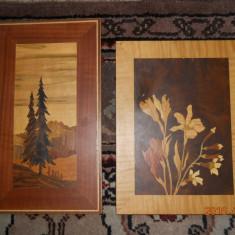 Trei panouri din lemn intarsiat : peisaj 30, 5x17, flori 27x20, 5, cocori 47x35cm.