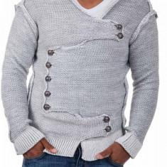 Pulover Tricotat Barbati Carisma Gri 7100 - Pulover barbati Carisma, Marime: L, Culoare: Din imagine