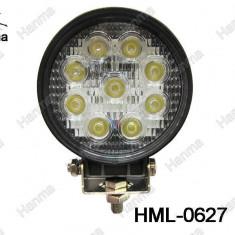 Proiector LED Auto Offroad 27W/12V-24V, 1980 Lumeni, Rotund, Spot Beam 30 Grade - Proiectoare tuning