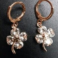 Cercei placati cu aur - Cercei placati aur 18k trifoi cu patru foi cristal de Austria cadou fetite femei