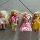 Set de patru papusi, mici, ideale joaca fetite, papusele - Papusa, 4-6 ani, Plastic, Fata