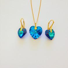 Set 22- Swarovski inima cu argint 925 - Set bijuterii argint
