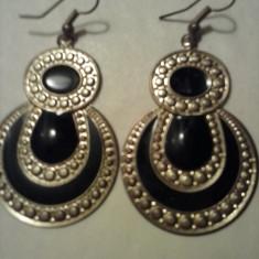 Cercei lungi auriu-negru - Cercei Fashion