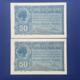 50 Bani 1917 BGR consecutive 2 bc perfect UNC!!!!!!!