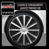Capace ornament jante Trend SB 4buc - Argintiu/Negru - 14' - CRD-VER1424SB - Capace Roti