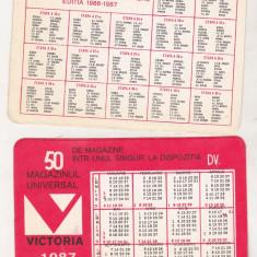Bnk cld Calendar de buzunar - Magazinul Victoria Bucuresti 1987 - Calendar colectie