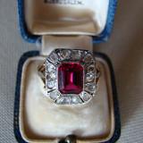 MINUNAT INEL AUR 18KT(ANTOURAGE)-CU DIAMANTE ROSE SI RUBIN NATURAL(JUGENDSTIL) - Inel diamant