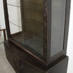 Vitrina vintage/antica, lemn masiv sculptat manual; Biblioteca; Dulap; Comoda - Mobilier, Comode si bufete, Art Deco, 1900 - 1949