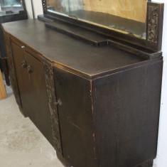 Mobilier, Comode si bufete, Art Deco, 1900 - 1949 - Servanta vintage/antica, lemn masiv sculptat manual; Bufet; Dulap; Comoda