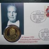 1994 Germania - FDC si medalie ( Elly Knapp )., Europa