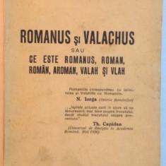 ROMANUS SI VALACHUS SAU CE ESTE ROMANUS, ROMAN, ROMAN, AROMAN, VALAH SI VLAH de T. HAGI - GOGU, 1939 - Carte veche