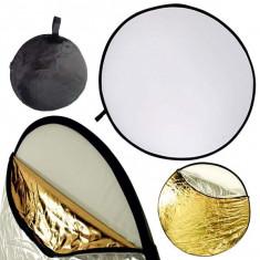 Blenda reflexie-difuzie 5 in 1 difuzie gold silver negru alb rotunda 60cm - Echipament Foto Studio