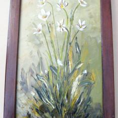 Narcise tablou pictat in ulei pe panza natura statica moarta - Pictor roman, Realism