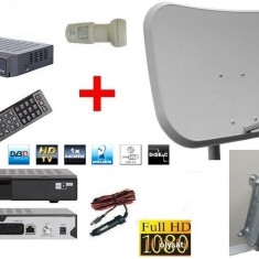 TV SATELIT CAMPING -CABANA -RULOTA-kit complet-receptor alimentare 12 v