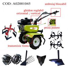 Gardelina Motocultor A02001045, 7 CP, freze, roti cauciuc, roti metalice, plug BG, rarita fixa, plug cartofi, cupla, 700-1000 mm