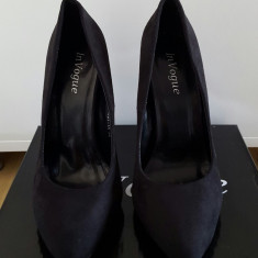 Pantofi cu toc In Vogue de club negri piele intoarsa - Pantofi dama, 36, Negru