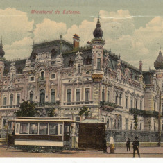 BUCURESTI, MINISTERUL DE EXTERNE, TRAMVAI CU CAI, CIRCULATA, STAMPILADEC.''08 - Carte Postala Muntenia 1904-1918, Printata