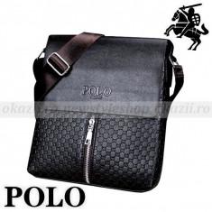 POLO FASHION - geanta de umar (verticala) din piele - Geanta Barbati Polo Sport, Marime: Medie, Culoare: Negru, Geanta tip postas