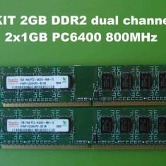 Memorie RAM Kingston PC DDR2 2GB KIT PC6400 800MHz Hynix, Dual channel