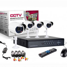 Camera CCTV - Kit Sistem supraveghere CCTV DVR 4 camere exterior internet cabluri
