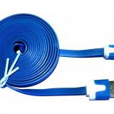 Cablu de date - Cablu Micro USB plat cu sincronizare de date, albastru