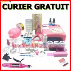 KIT SET Unghii false BeautyUkCosmetics CU GEL MANICHIURA LAMPA UV PILA ELECTRICA