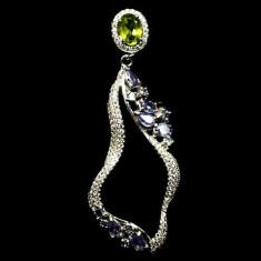 Pandantiv argint - Pandantiv stralucitor argint 925 placat aur alb cu peridot si tanzanit naturale