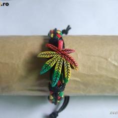 Bratara piele - Bratara Frunza Marijuana Rasta Jamaica