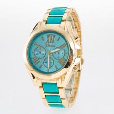 Ceas de Dama Geneva, Rezistent la apa, Inox, Inox, Quartz, Elegant - Ceas Geneva auriu si turcoaz de dama + cutie cadou