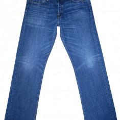 ABERCROMBIE & FITCH - (MARIME: 32 x 32) - Talie = 92 CM, Lungime = 110, 5 CM - Blugi barbati Abercrombie & Fitch, Culoare: Albastru, Cu rupturi, Drepti, Normal