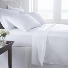 Lenjerie de pat - Lenjerie pat Satin Plain Elina din bumbac alb