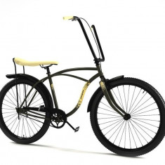 Bicicleta retro - Pegas Strada 1 - 3 viteze, Verde Respect, anvelope negre