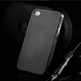 Husa/toc protectie iPhone 4, 4s 100% aluminiu perforat, 0.3 mm, nu piele, negru - Husa Telefon Apple, Metal / Aluminiu