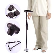 Baston telescopic de sprijin pliabil cu lanterna