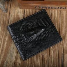 Portofel piele ecologica aspect crocodil negru incapator - Portofel Barbati, Coffee, Cu inchizatoare