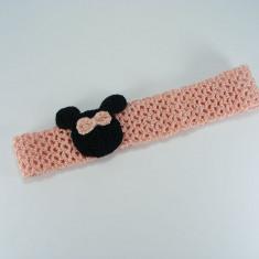 Bentita roz pal cu soricel de fetite crosetata manual Buticcochet