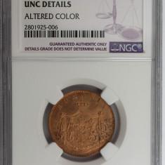 Monede Romania, An: 1867, Bronz - ROMANIA - 5 BANI 1867 HEATON UNC DETAILS GRADATA NGC