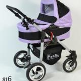 Carucior copii 2 in 1 - Carucior 2 in 1 cu roti gonflabile Street S16 (Violet cu Negru) Kerttu