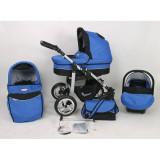 Carucior copii 3 in 1 - Carucior 3 in 1 Silver cu roti normale S2 (Albastru cu Negru) Kunert