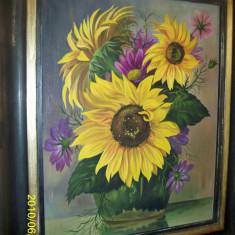 Tablou superb floarea soarelui ulei pe carton - Pictor strain, Flori, Realism