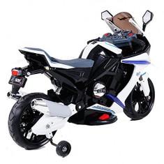 SUPER MOTOCICLETA ELECTRICA PT.COPIII, GT01 CU ACUMULATORI 12V, ROTI AJUTATOARE. - Masinuta electrica copii 1c, Unisex, Bleu