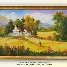 La casa bunicilor (2) - pictura peisaj rural, ulei pe panza cu rama, 67x47cm