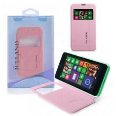 Husa Telefon - Husa Nokia Lumia 630 Flip Carte Iceland Series Roz / Pink