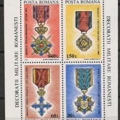 ROMANIA 1994 - DECORATII MILITARE ROMANESTI, bloc nestampilat AF7 - Timbre Romania, Natura