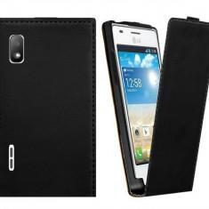 Toc piele neagra husa flip LG Optimus L5 e610 + folie ecran - Husa Telefon LG, Negru