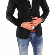 Sacou tip Zara Man negru casual - sacou barbati - sacou bumbac cod 6334