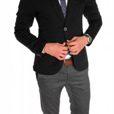 Sacou tip Zara Man negru casual - sacou barbati - sacou bumbac cod 6332