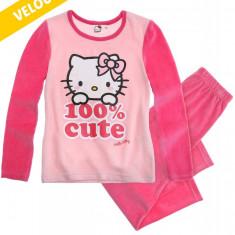 Pijama din velur Hello Kitty roz