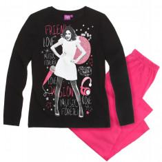 Pijama cu maneca lunga Disney Violetta negru/roz