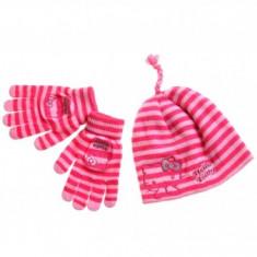 Set caciula cu manusi Hello Kitty roz - Caciula Copii
